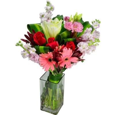 Gerberas, Roses, Lily in Square Vase