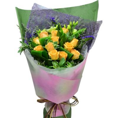 One Dozen Orange Color Roses Bouquet