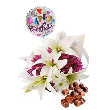Asiatic and Chryssie Package with Chocolate Box and Helium Happy Birthday Balloon